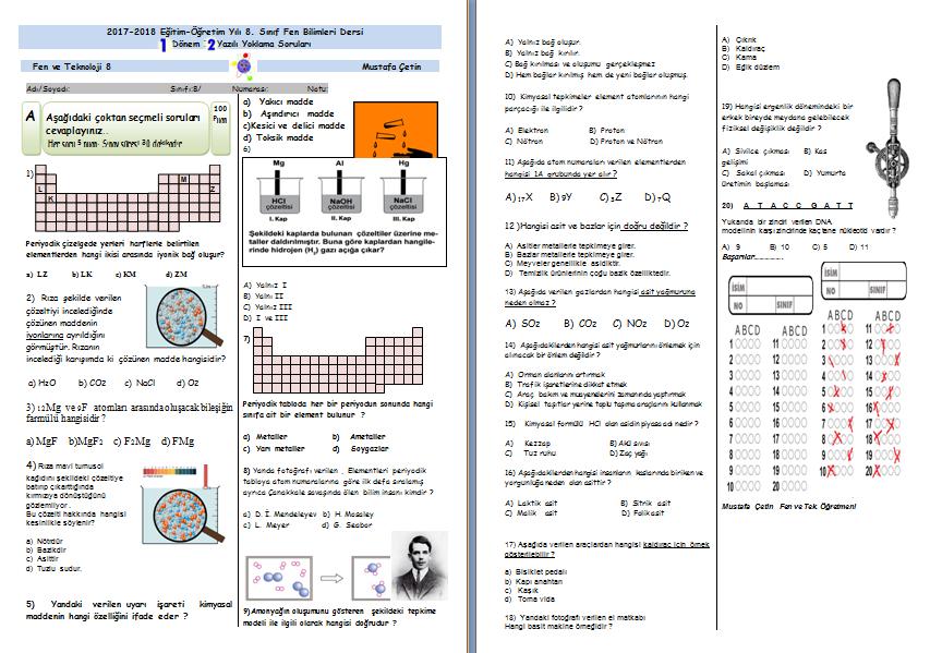 8.sınıf 1.dönem 3. yazılı sınav örneği  cevap anahtarlı (2017-2018)