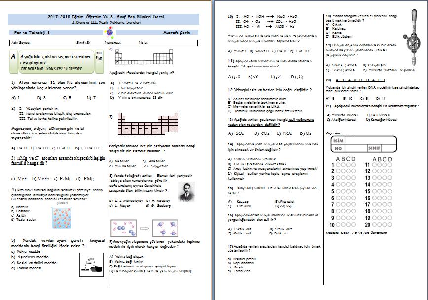 8.Sınıf 1.Dönem 3.Yazılı Sınavı cavap anahtarlı ve joker sorulu (2017-2018)