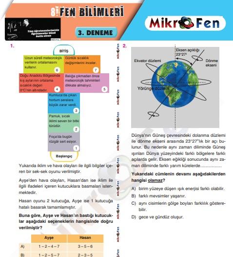 Mikrofen deneme - 3 cevap anahtarlı