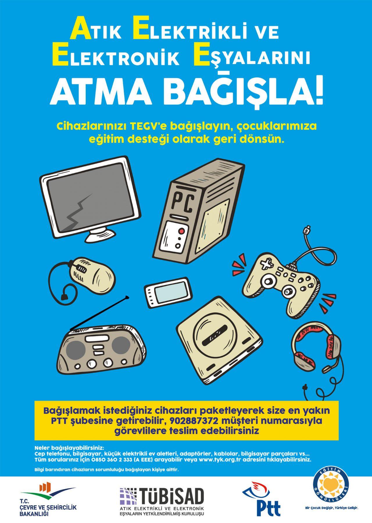 Atık elektrikli ve elektronik eşyalarını atma bağışla