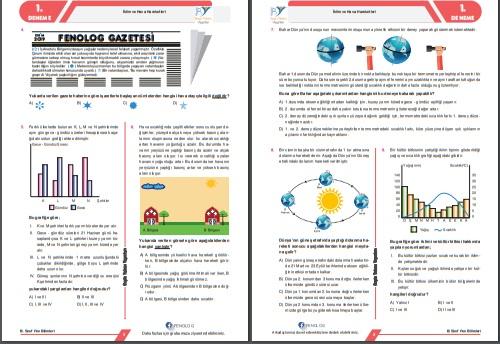 Fenolog Yayınları Deneme Sınavı 1  mevsimler ve iklim ünite kapsamlı
