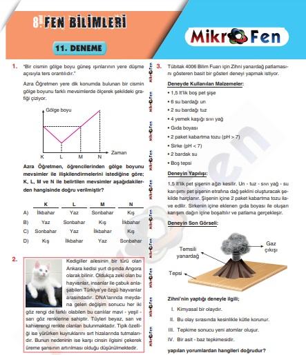 mikrofen 11 Fen Bilimleri  LGS  Denemesi