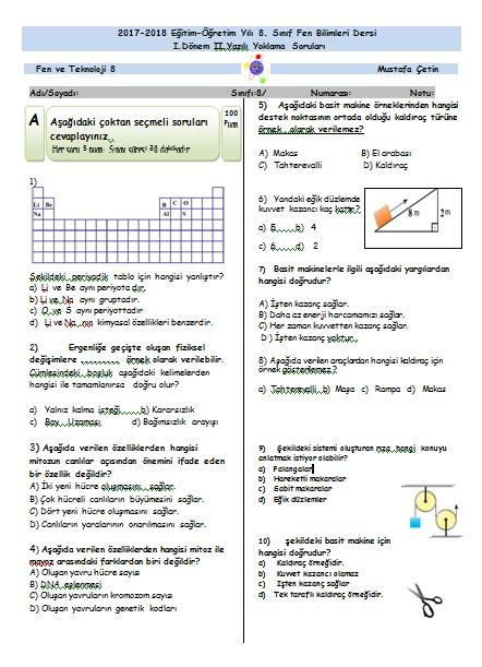 8.Sınıf 1.Dönem 2.Yazılı Sınavı Cevap Anahtarlı (2017-2018)