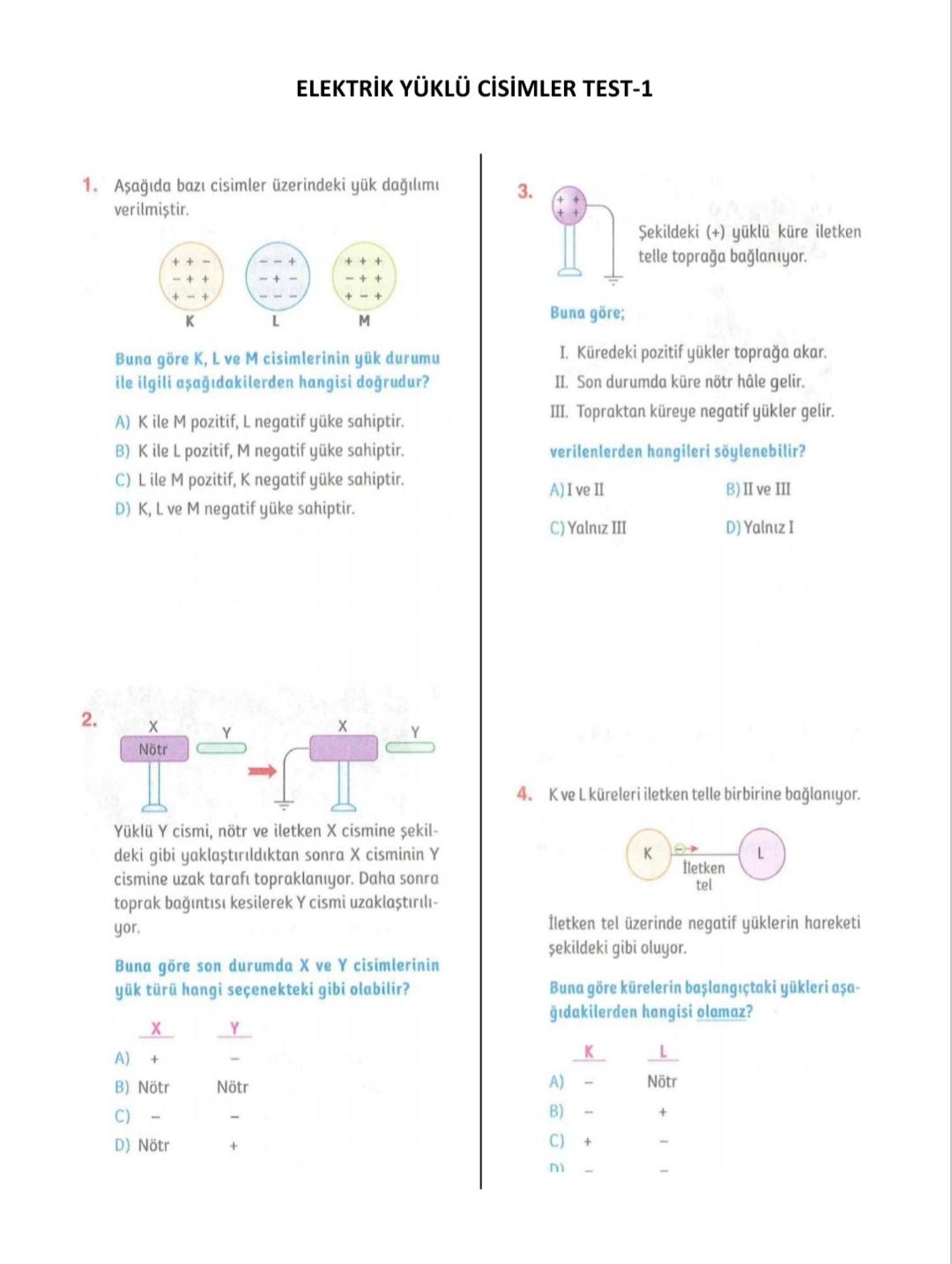 Elektrik Yüklü Cisimler Testleri (Cevap Anahtarlı)