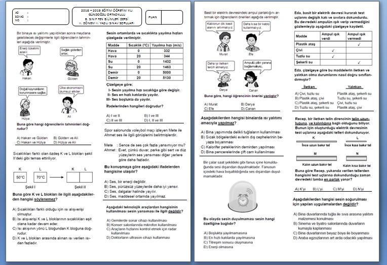 Fen Bilimleri 6.Sınıf 2.Dönem 2.Yazılı Sınavı