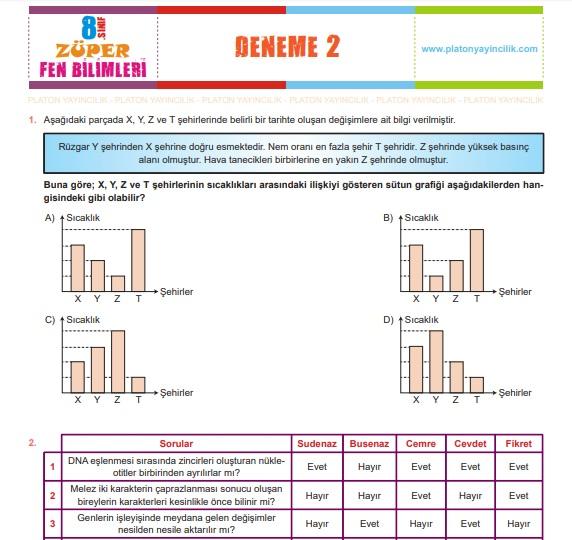 Platon Yayıncılık Züper Fen Bilimleri 8. Sınıf Genel Deneme 2