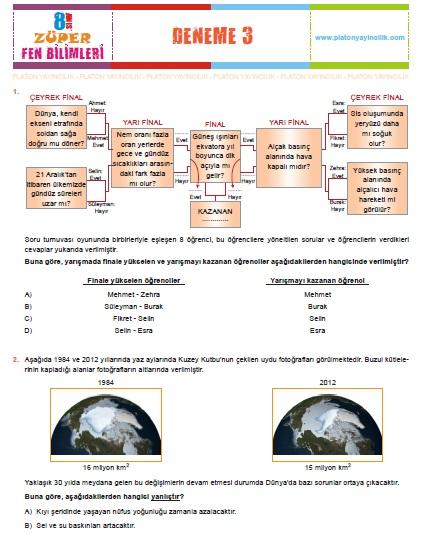 Platon Yayıncılık Züper Fen Bilimleri 8. Sınıf Genel Deneme 3