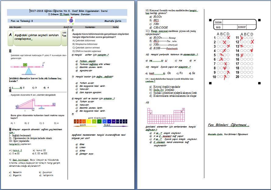 Bilim Uygulamaları Dersi 1.Dönem 2.Yazılı Sınav Örneği Cevaplı (2017-2018)