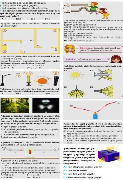 Fen Bilimleri  5. Sınıf  Işığın Yayılması Testi
