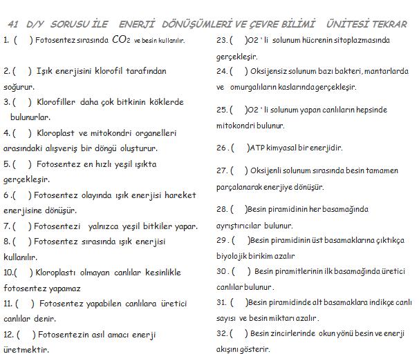 41 D/Y Enerji Dönüşümleri Ve Çevre Bilimi Konu Tekrarı Soruları