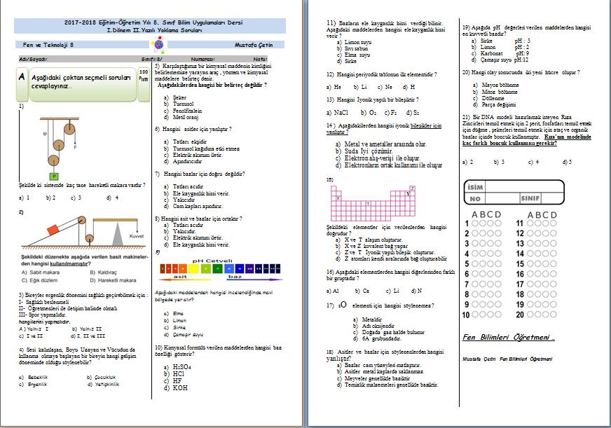 Bilim Uygulamaları Dersi 1.Dönem 2.Yazılı Sınavı (2017-2018)