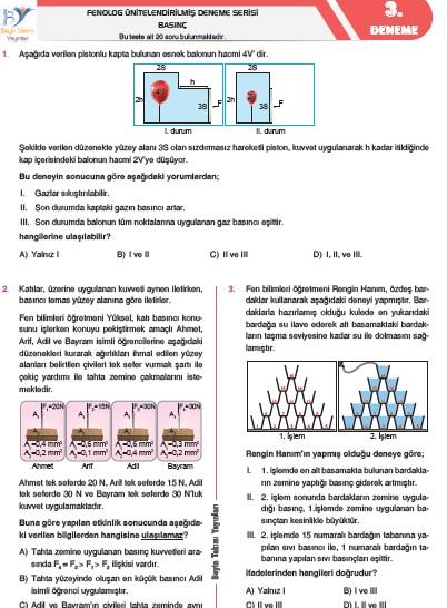 8. sınıf FENOLOG  Deneme 3